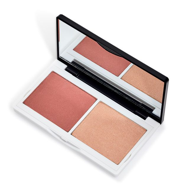 Lily Lolo Coralista Cheek Duo: Gluten free, Vegan friendly. Matte Coral Blusher, light reflecting Highlighter