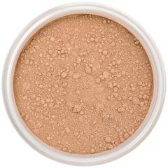 Lily Lolo Dusky Mineral Foundation: Gluten free, vegan. A tan foundation shade with balanced undertones.